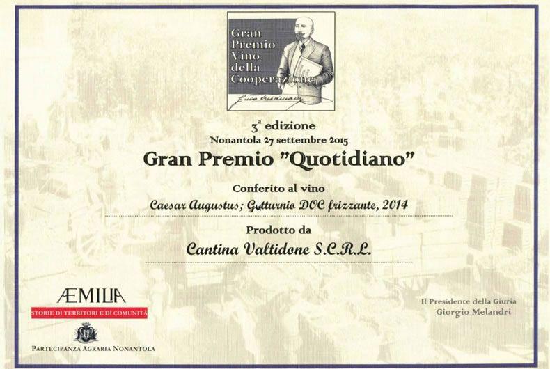attestato premio per la terza edizione del gran premio quotidiano per il vino gutturnio doc frizzante 2014