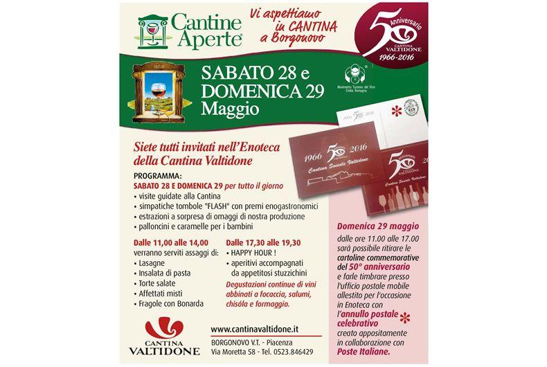 Cantine Aperte in Cantina Valtidone con annullo postale per il 50° anniversario