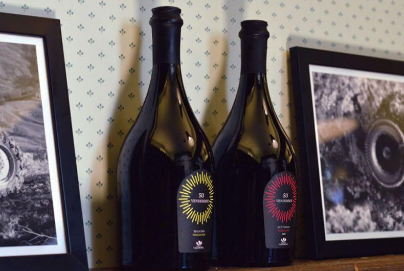 foto bottiglie dei due vini 50 vendemmie, il malvasia frizzante e gutturnio frizzante