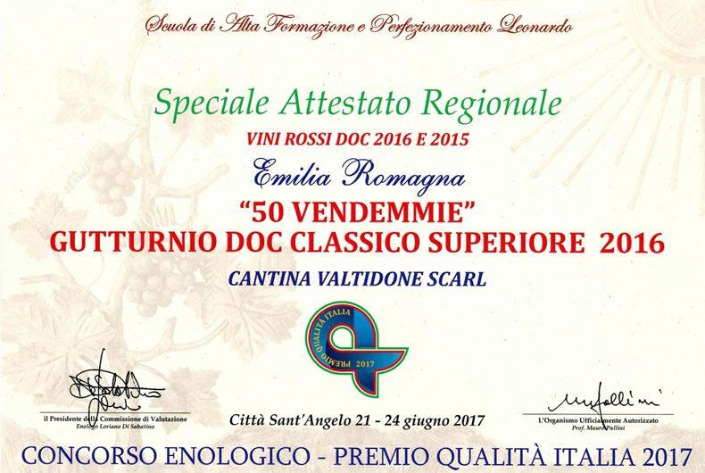 speciale attestato regionale al gutturnio doc classico superiore 2016
