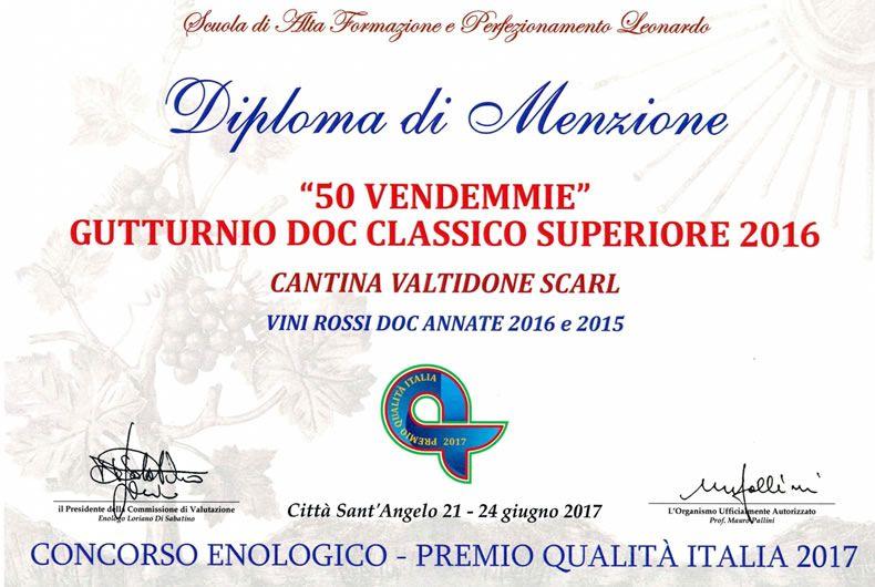 diploma di menzione gutturnio doc classico 50 vendemmie 2016