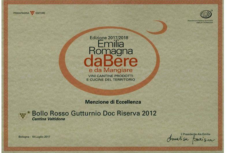 attestato emilia romagna dabere premio bollo rosso gutturnio doc riserva 2012