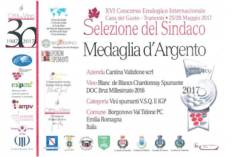 concorso enologico internazionale maggio 2017, selezione del sindaco medaglia d'argento al vino blanc de blancs chardonnay spumante doc brut millesimato 2016