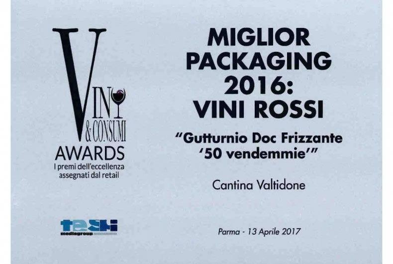miglior packaging 2016 dei vini rossi, gutturnio doc frizzante 50 vendemmie
