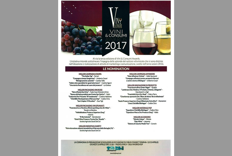 vini e consumi awards 2017, vini nominati