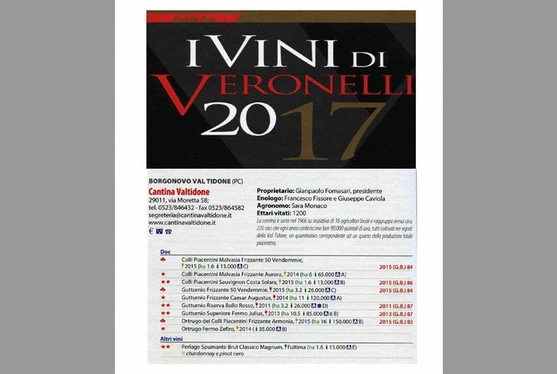 i vini di veronelli 2017, vini citati della cantina valtidone
