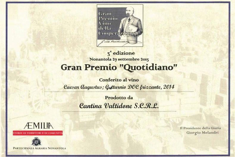 gran premio quotidiano conferito al vino caesar augustus doc frizzante 2014