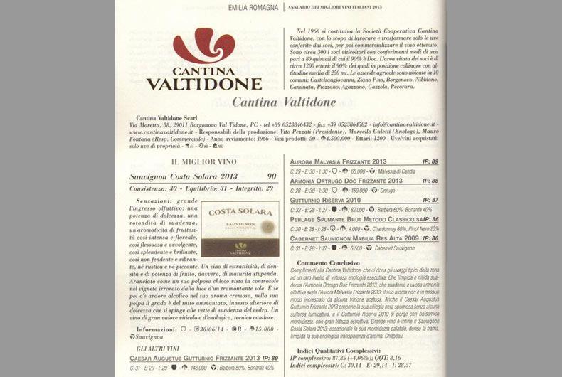 cantina valtidone su annuario dei migliori vini d'italia
