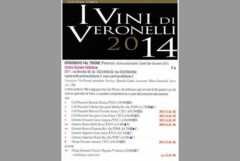 riconoscimento vini cantina valtidone vini di veronelli 2014
