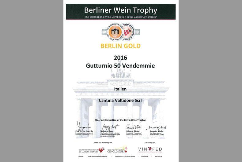 premio berliner wein trophy cantina valtidone gutturnio 50 vendemmie