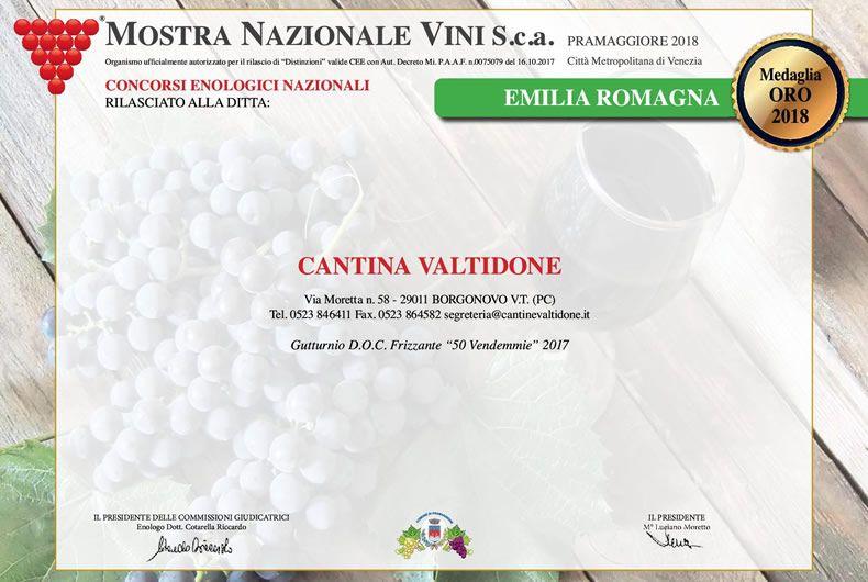 medaglia oro 2018 mostra nazionale dei vini cantina valtidone