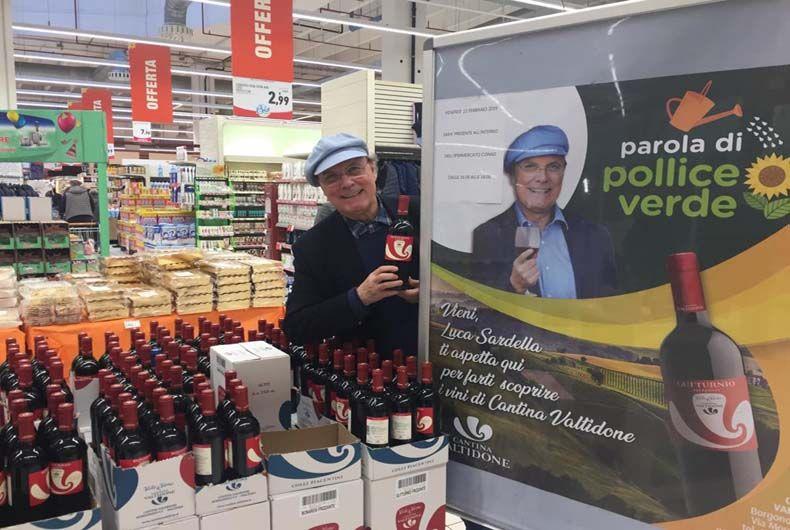 Luca Sardella testimonial dei vini di Cantina Valtidone
